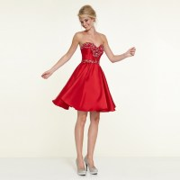 Nice A Line Sweetheart Satin Beaded Short Prom Party ...