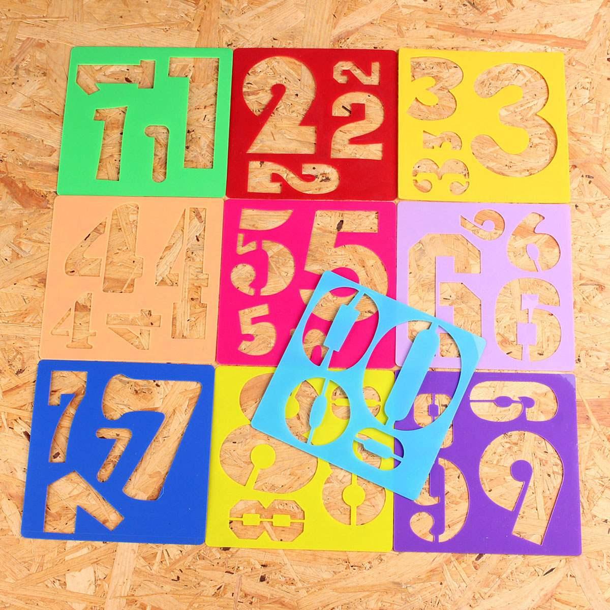10pcs Kids Plastic Numbers Template Craft Drawing Stencil