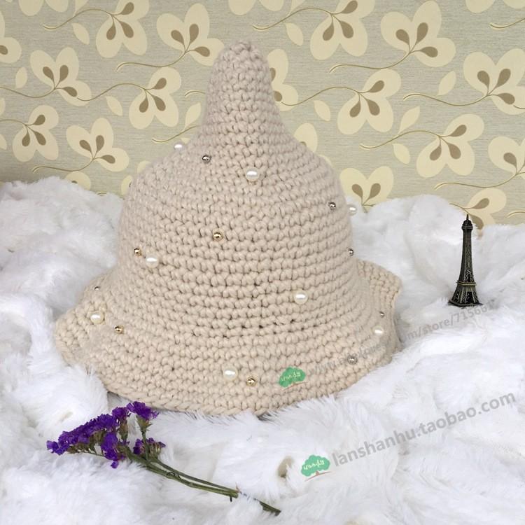 ⑤Moda coreana nueva Otoño Invierno perla casual Beanie sombrero ...