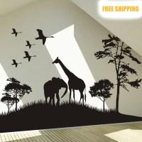 Big Size Safari Africa Animals Wall Sticker Elphant Tree ...