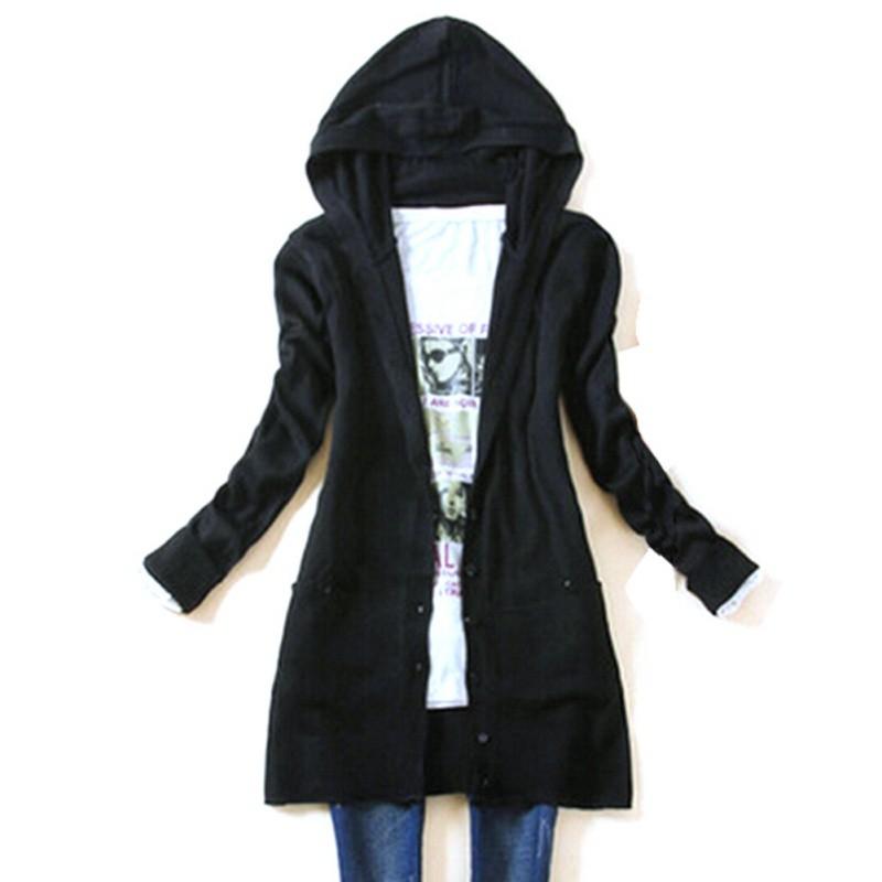 இ2018 mujeres de la moda de punto con capucha suéter manga larga ...