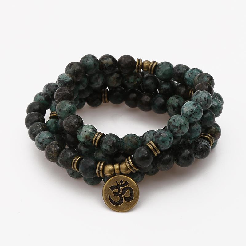 331c3341faef 108 cuentas budismo oración Mala pulsera y Collar para Mujeres Hombres 8mm Piedra  Natural Multi-capa envuelto Yoga pulsera de la suerte