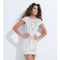 Short Party Dresses In Winter White - Discount Evening Dresses