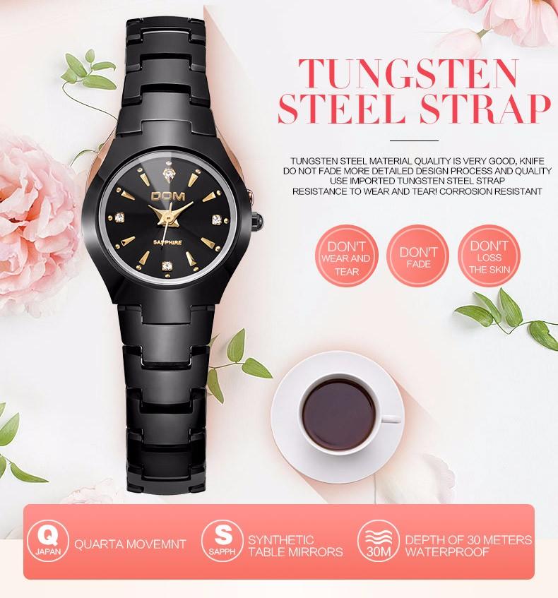 f5aa50abc5b DOM Moda Assistir Mulheres Causal Vestido de Relógios de Quartzo de Prata  de Ouro Pulseira de Aço de Tungstênio Relógios À Prova D  Água W-398BK-1M