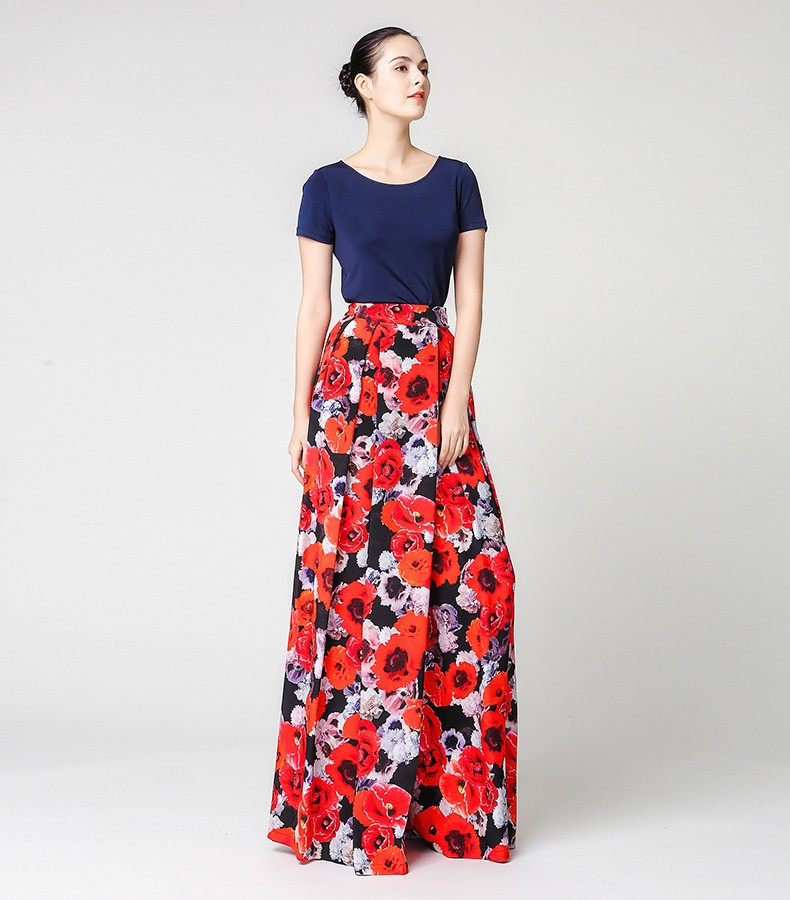 cfea9a00fa59f VOA Summer Red Silk Floral Printing Wid Leg Pants Women Spring Loose ...