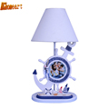 HGhomeart Mediterranean Boy Bedroom Desk Led Lamp E27 110V 220V Switch Button Wooden White Desk Lamp