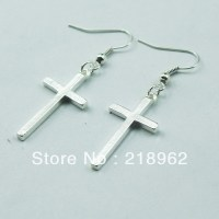 fashion simple metal cross dangle earring both for men or