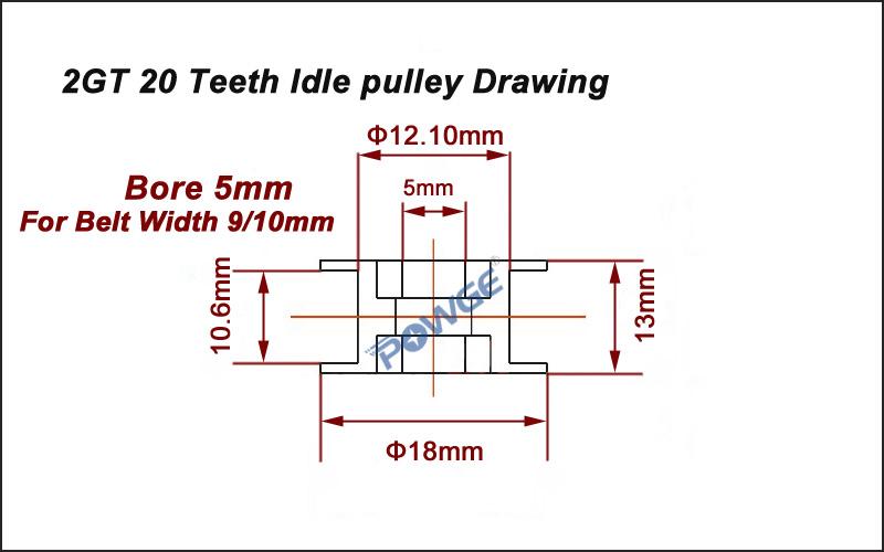 ©POWGE <b>GT2</b> 20 Зубы направляющее колесо 2GT зубчатый ...