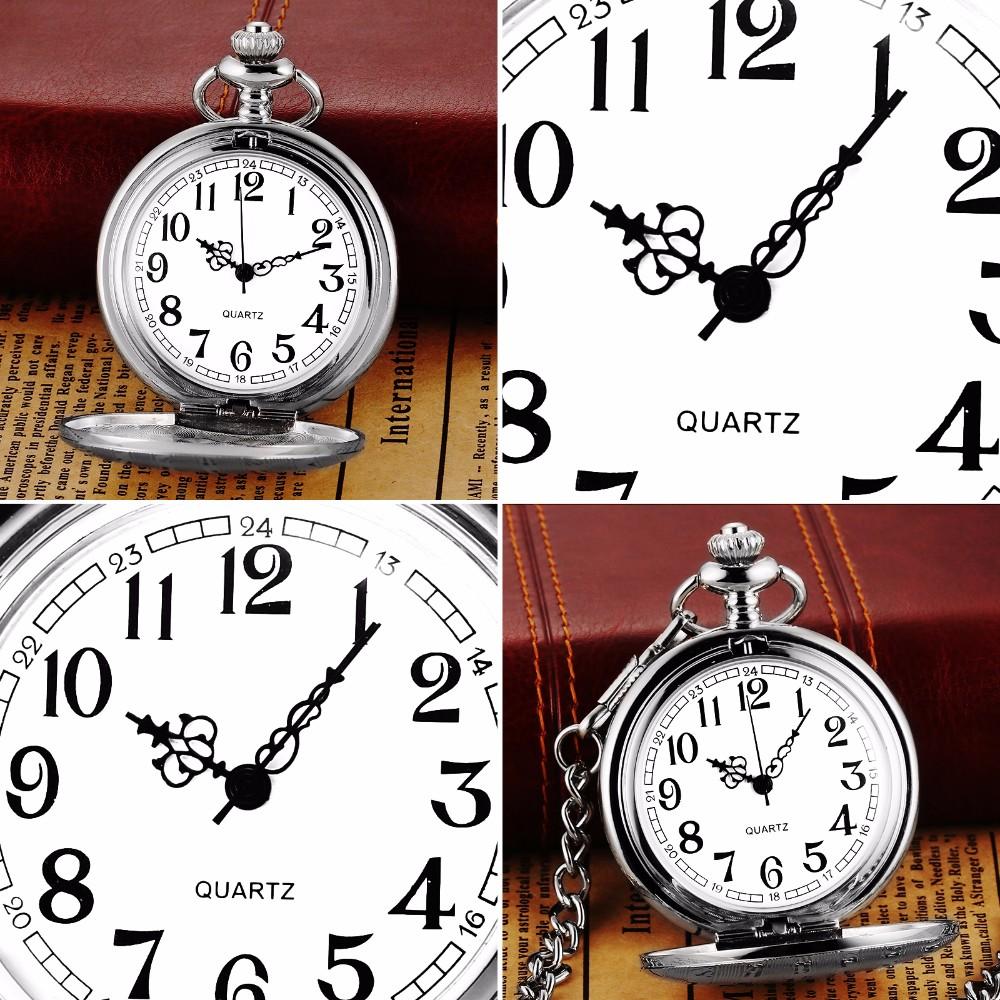 ad3d544075d Retro Prata Branco Completa Hunter Caso Enfermeira Relógio Jóia Relogio 34  cm Cadeia Fobs Pingente de Quartzo Movimento do Relógio de Bolso ...