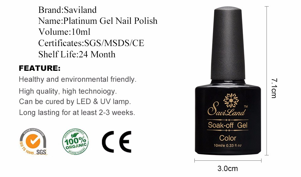 №Saviland 1pcs 10ml Shining Long Lasting Semi Permanent Platinum Gel ...