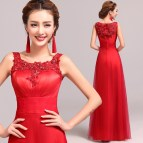 Elegant Red Long Prom Dresses 2016 Lace Scoop Sleeveless
