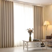 High grade modern living room curtains solid color linen ...
