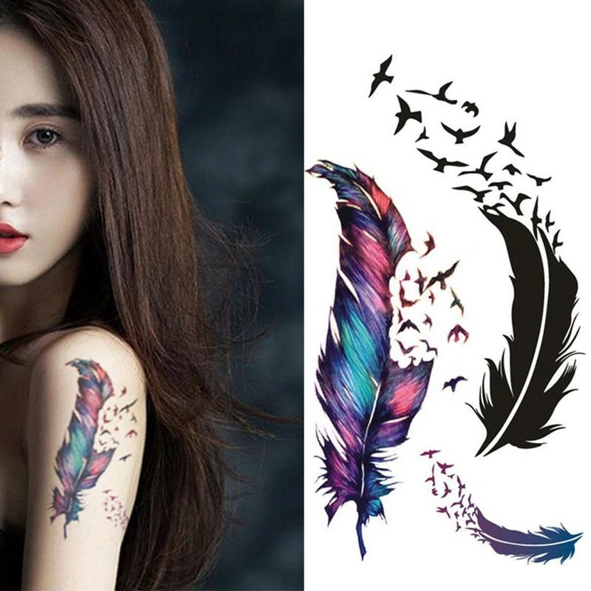 Waterproof Feather Small Freshness Tattoo Sticker Colorful Three