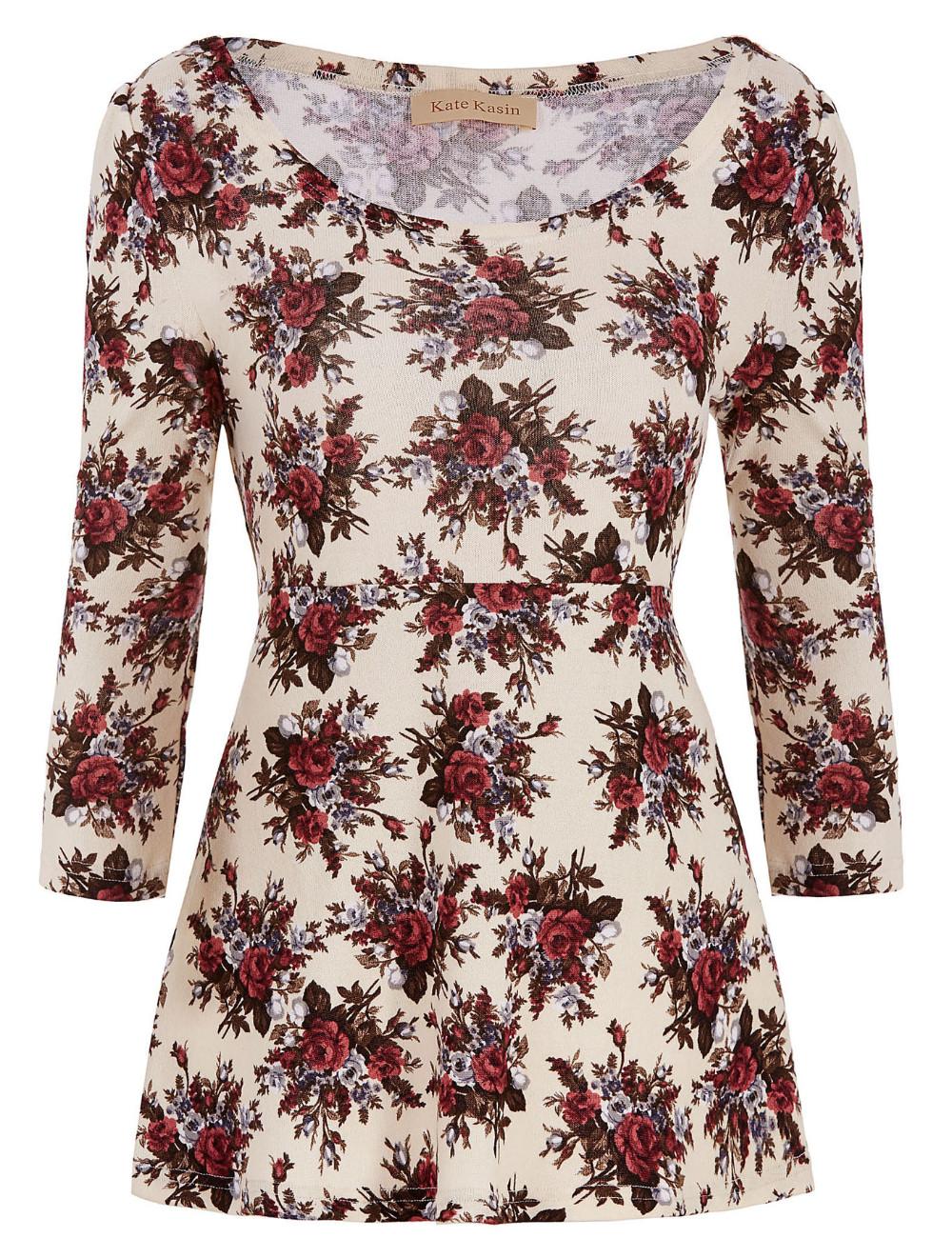 Floral ocasional camiseta mujeres o Masajeadores de cuello 3 4 manga tamaño  grande mujer ropa retro camiseta vintage 2016 Mujer tops c8bfa23b13d8d