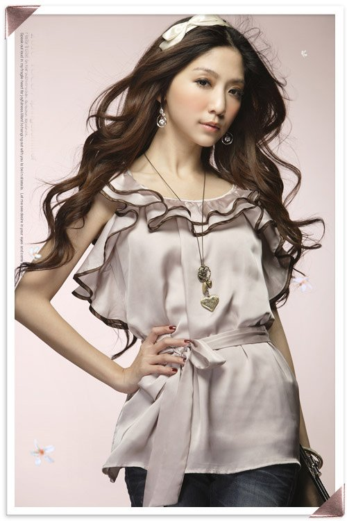 New Fashion Ladies Satin Shirt Blouse Top Washable Silk Blouse