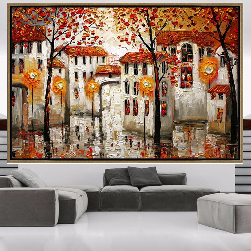 ▻Pintado a mano abstracto moderno pared pintura árbol construcción ...