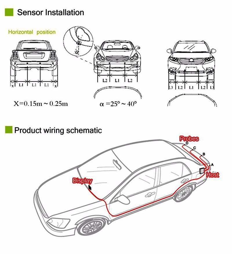 NewElectromagnetic Car Parking Sensor Parktronic 8 Sensors