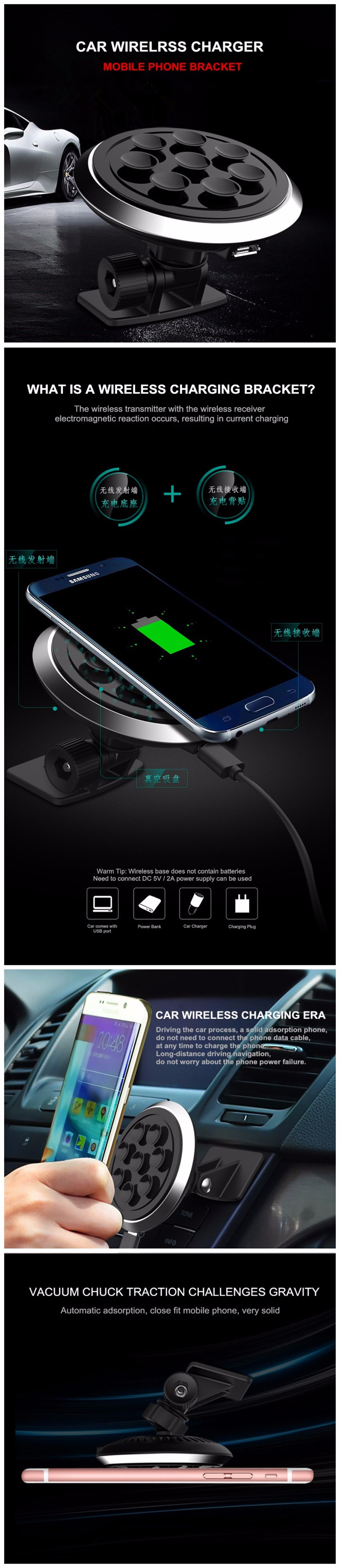 Amstar Qi Car Wireless Charger Charging Pad Chager Universal Receiver Reveres Port For Smartphone Samsung Galaxy S8 S7 S6 Note 5 Nexus 4 Lumia 920