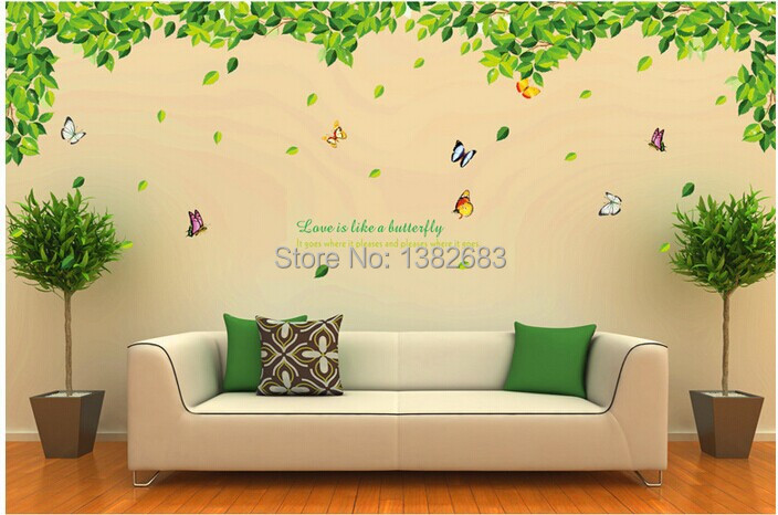 Extra Large 300cm*110cm Creative Green Leaves Butterfly