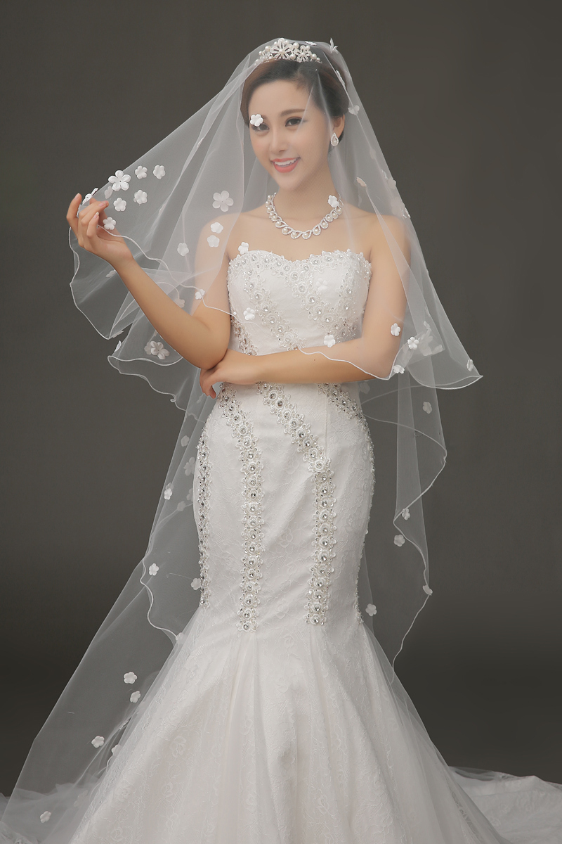 Free Shipping veu de noiva longo White Long white cathedral length bridal veil Appliques Cheap