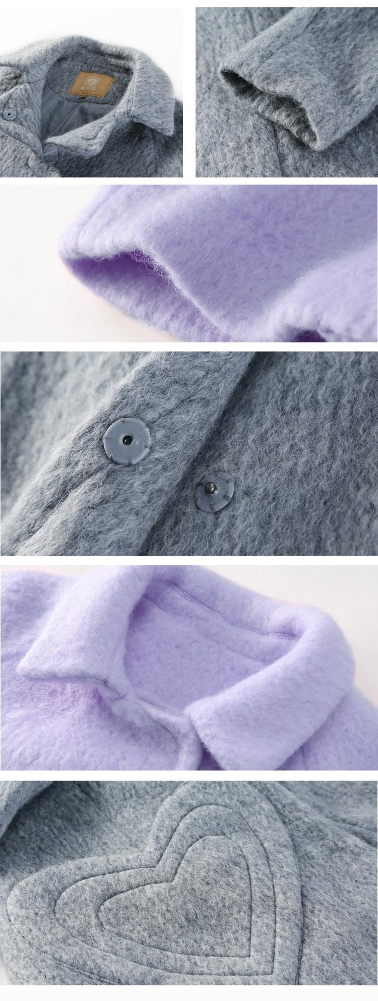 7070afdc1 Elf saco p biscoitos bolso do coração do inverno feminino solto outerwear  lã feminino de médio-longo