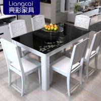 Bright color combination of black glass dining tables and ...