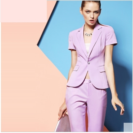 High quality professional summer ol lilac short-sleeve pant suit women's fashion business work wear twinset free shipping