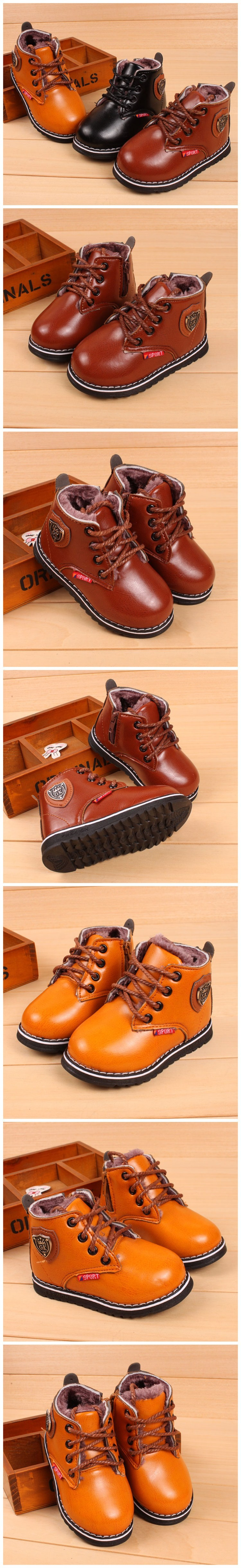 eb4257eb88d16 ⊱Winter Kids Leather Boots PLUSH INNER Thermal Boots Girls Boys ...