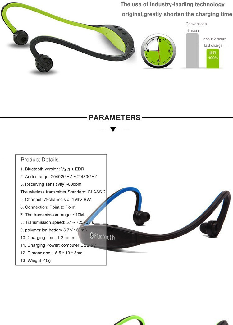 High quality S9 Sports Stereo Wireless Bluetooth 3.0
