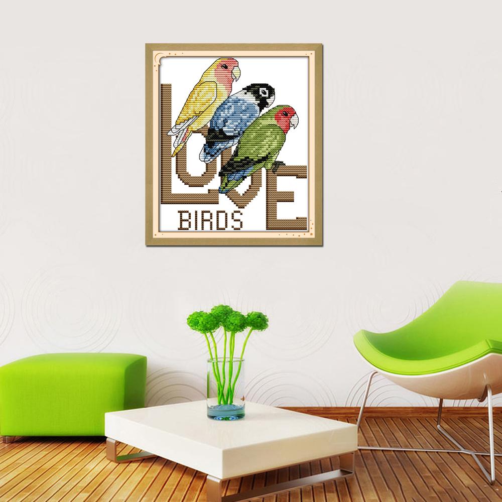 N Alegria Domingo Estilo Animais Tr S Papagaios Frete Modernos  ~ Ponto Cruz Cozinha Moderna
