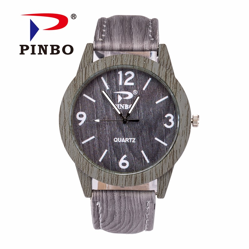 34a61f7791ba ✓New Brand PINBO Vintage Quartz Watch Men Dress Leather Wood Grain ...