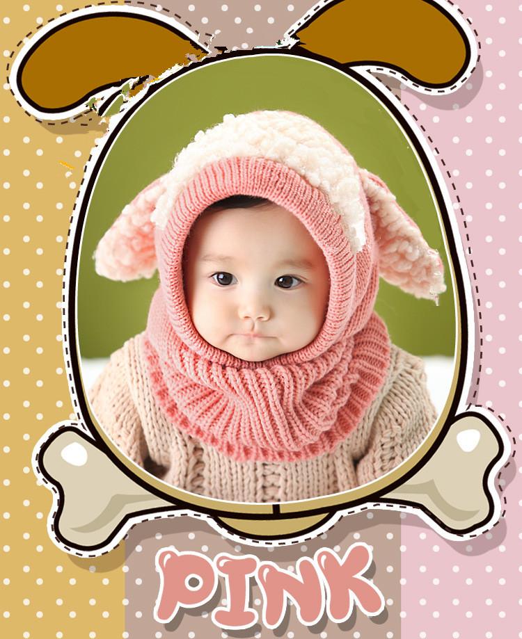 2017 hiver bébé chapeau et écharpe chiot conception à capuchon crochet  écharpe fille garçon enfant enfants cache-cou de neige photographie  accessoires 989814404c9