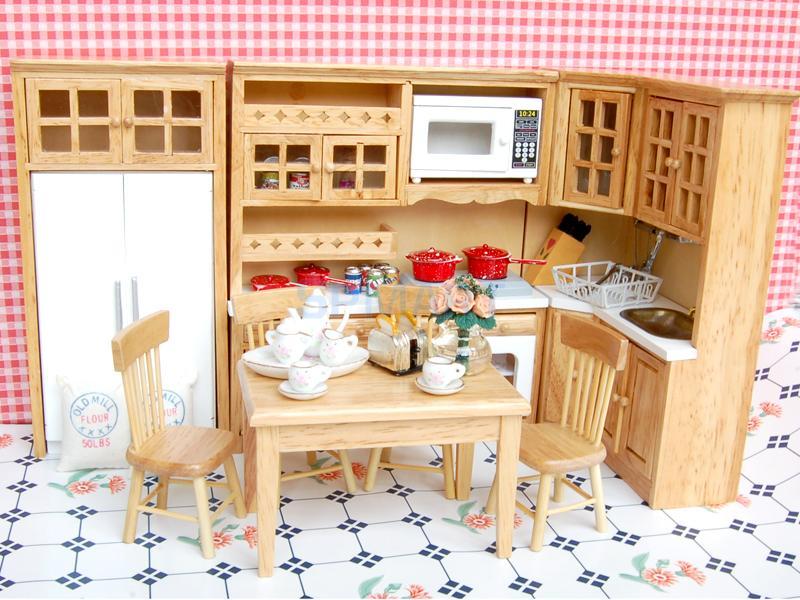 1/12 Dollhouse miniatura de madera Muebles 5 unids silla mesa 40 ...