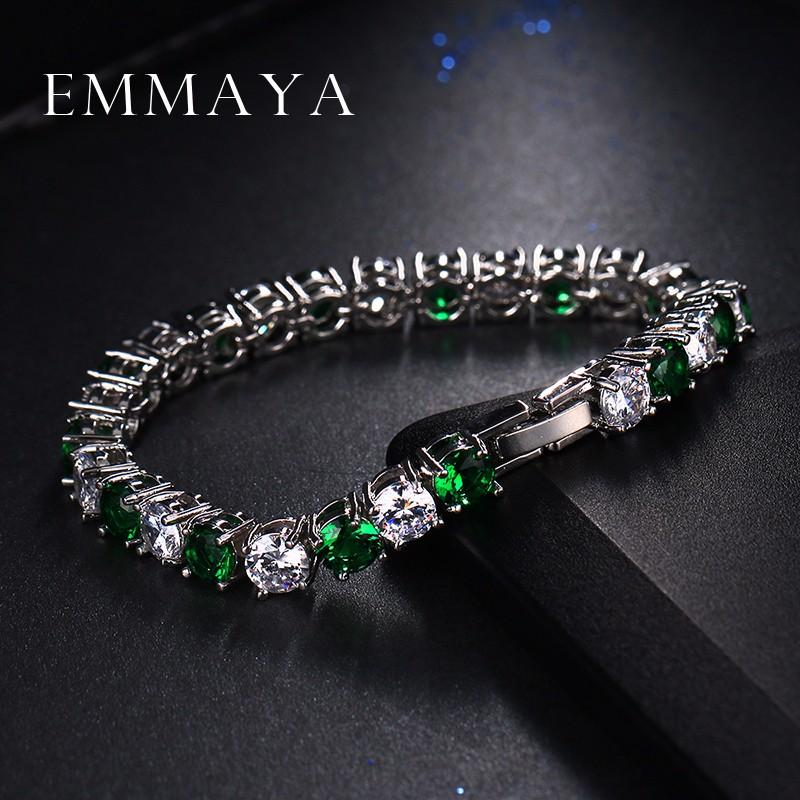 9009a1e8e77a ₩Emmaya Moda Verde ZIRCON pulsera moda de alta calidad decoración de ...