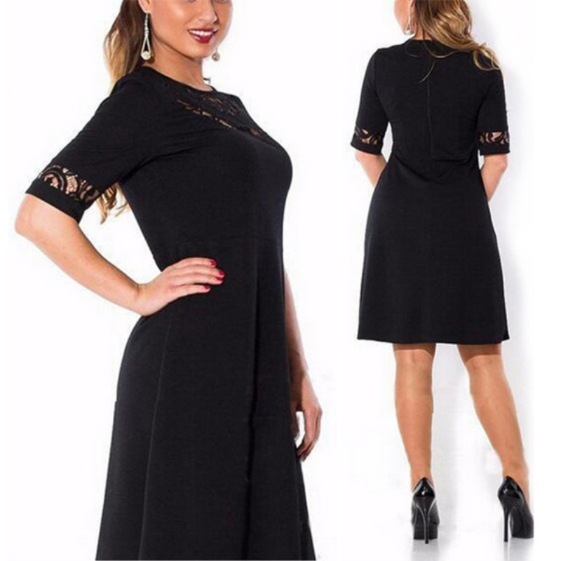 700da4ed5d ᐅNueva Encaje vestido media manga de gran tamaño mujeres ropa ...