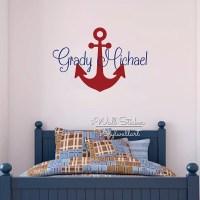 Custom Name Wall Sticker Kids Room Baby Nursery Anchor ...