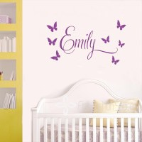 Personalised Name Princess 7Butterflies Baby Girl Wall ...
