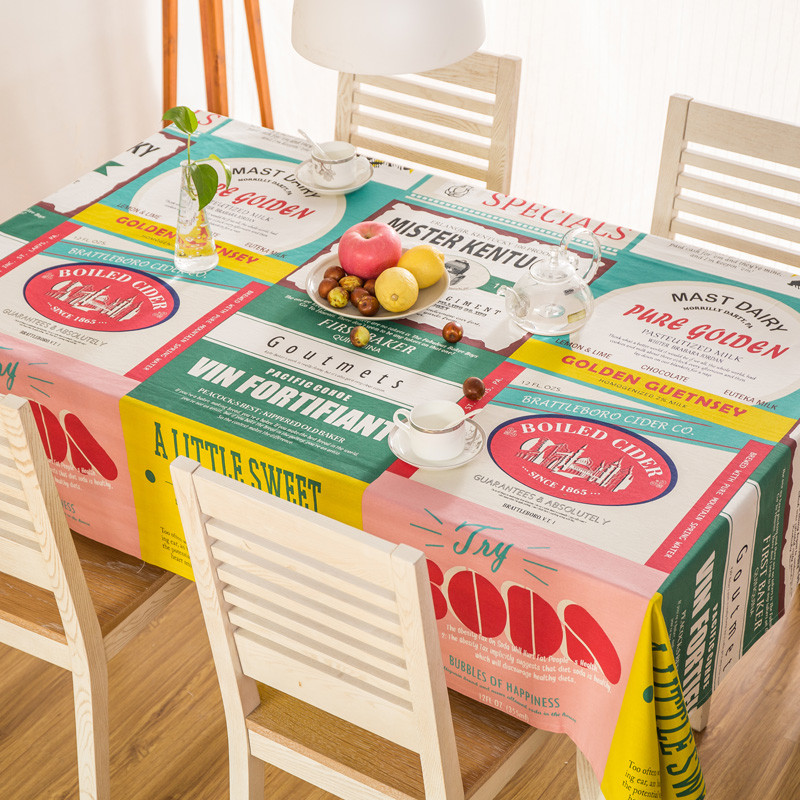 Cotton Tablecloth Rectangular Dinner Table Cover Letter Cartoon Table Cloth  Home Textile For Decorations Countryside Style