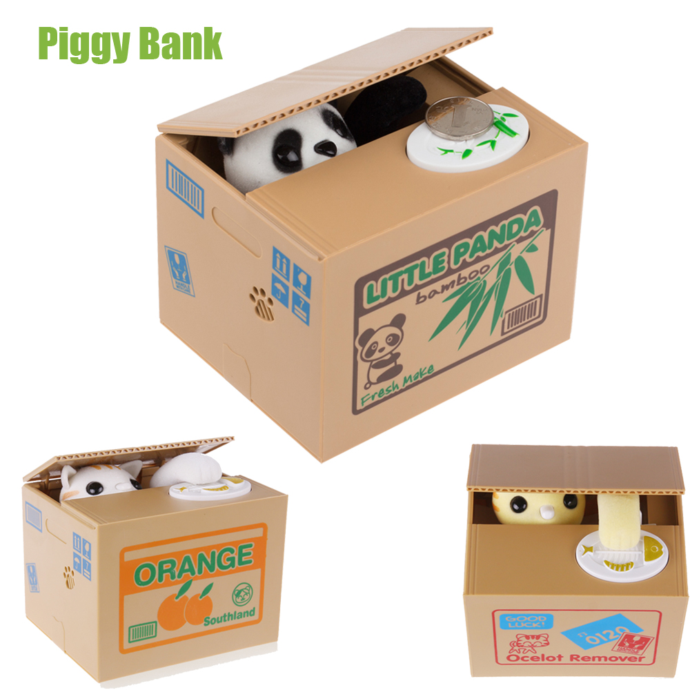 White Yellow Cat Panda Automatic Stealing Coin Cat Kitty Coins Penny Cents Piggy Bank Saving