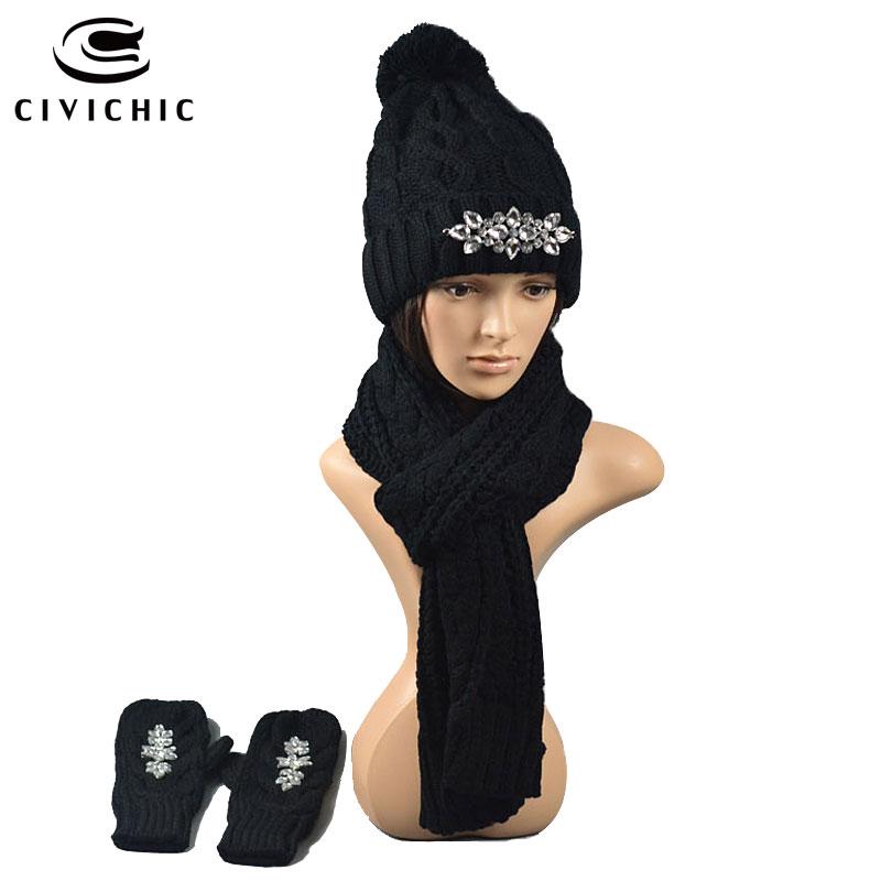 ღ Ƹ̵̡Ӝ̵̨̄Ʒ ღCivichic invierno jacquard sombrero de punto bufanda 2 ...