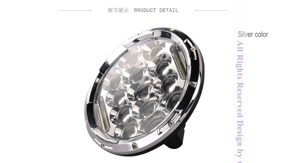 ⊱75W 7inch Round Black Chrome ᐂ Led Led Headlight with DRL