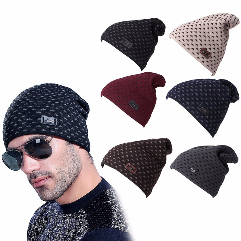 ▻Hombres Mujeres crochet knit oversized baggy Beanie lana del ...