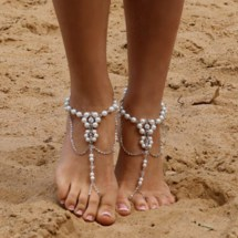 1pc Bridal Barefoot Sandals Pearl Multi Layer Anklet