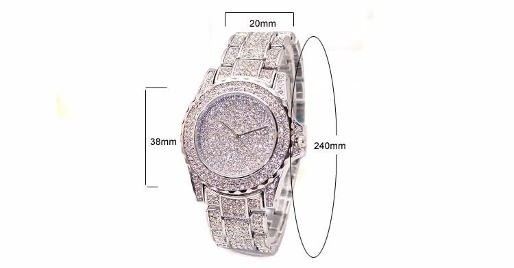 bd55b76990e Luxury Women Ladies Crystal Quartz Watch Vintage Rhinestones Decoration Stainless  Steel Strap Quartz Wristwatches Mujer Relojes