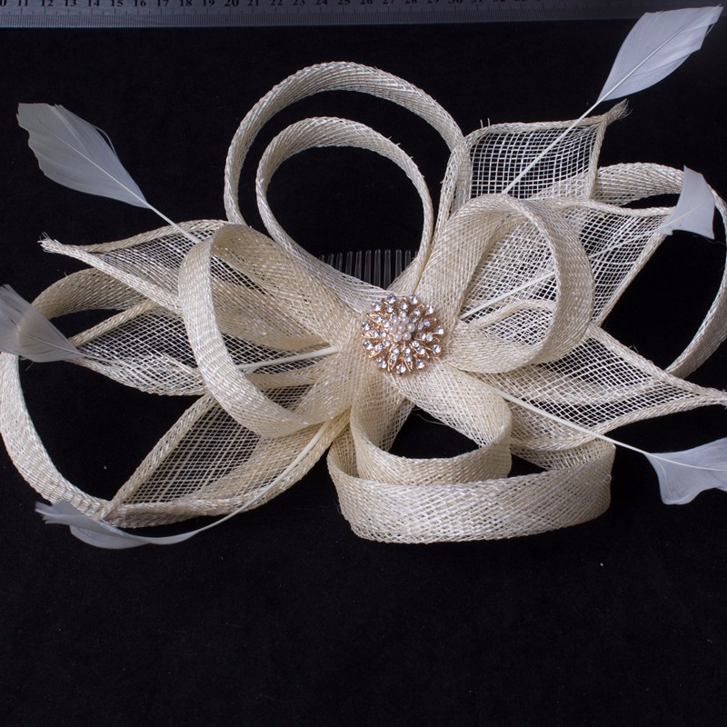 Classical Color Sinamay Fascinator Headwear Colorful Mesh Feather