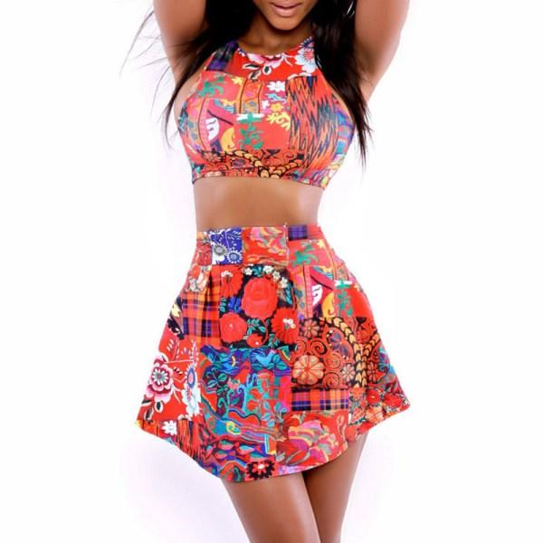 2015 Cheap Bathing Suit Women Fashion Strappy Print Top And High Waist Bottom Bikini Set