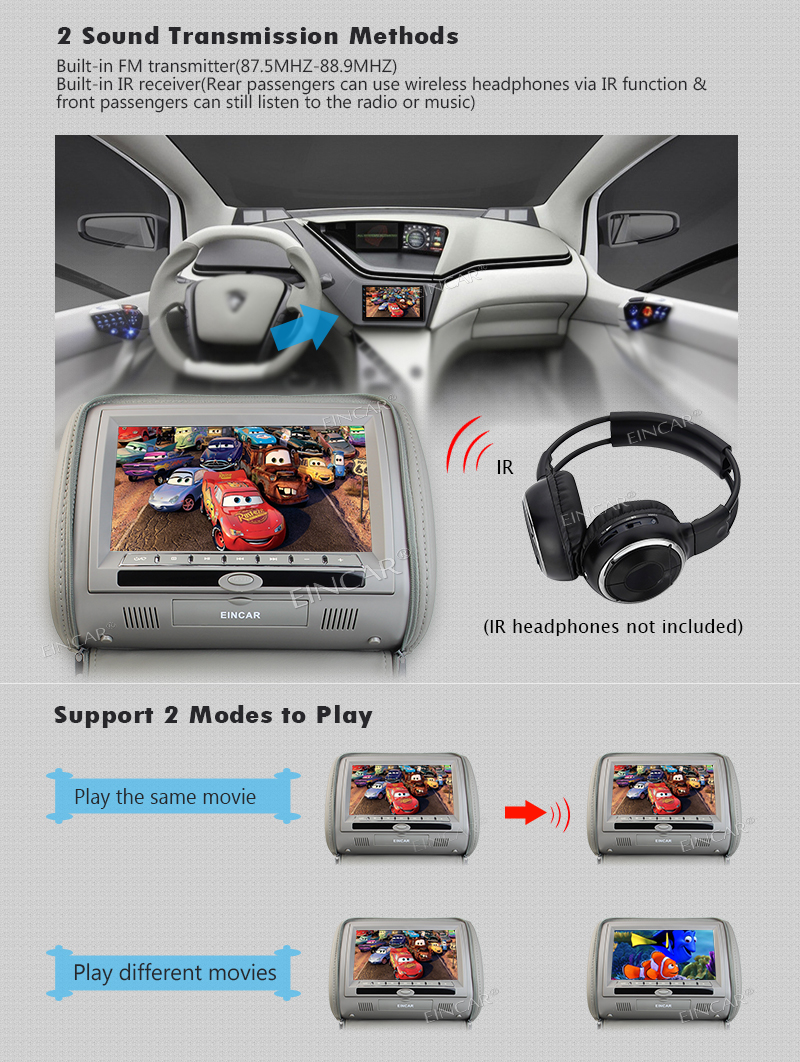 9 Inch Digital Display Screen Headrest Car Cd Dvd Player Grey Movie Wiring Harness 2 X Power Av Input Output Native 32 Game Discs 1 English Manual 4 100mm Poles 2x Remote Control With Pad Function Batteries