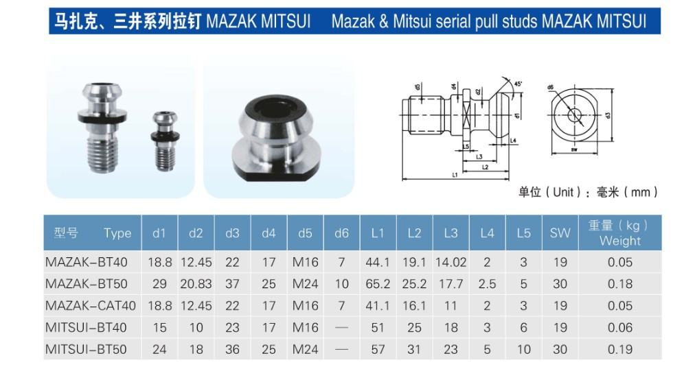 ③1lot MAZAK-BT40 45Degree M16 Thread pull stud retention