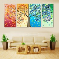 4 Piece Frameless Colourful Leaf Trees Canvas Painting ...