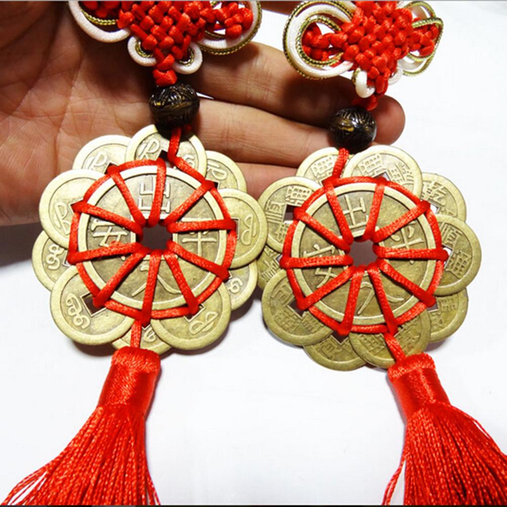 ︻레트로 빈티지 동전 Plum 매듭 문자열 꽃 오래된 중국 풍수 행운의 동전 홈 경력 건강 장식 합금